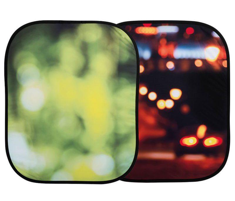 折りたたみ式ボケ背景 夏の葉/シティライツ