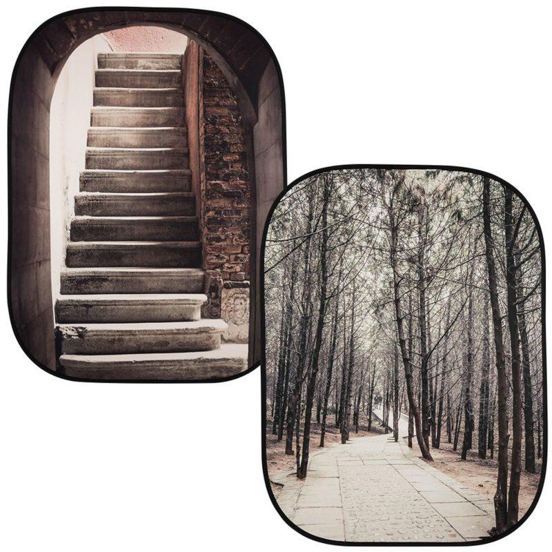 折たたみ式柄背景 階段/林